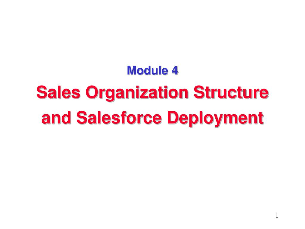 module 4 sales organization structure and salesforce deployment l.