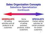 sales organization concepts salesforce specialization continuum