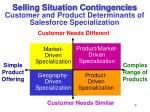 selling situation contingencies customer and product determinants of salesforce specialization