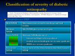 classification of severity of diabetic retinopathy