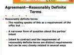 agreement reasonably definite terms