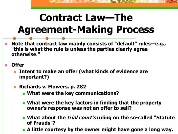 contract law the agreement making process n.