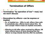 termination of offers