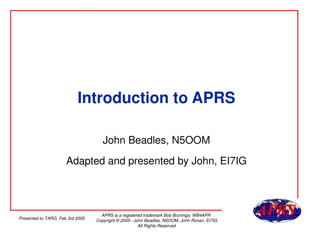 introduction to aprs l.