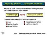 adjusting entries unearned revenues