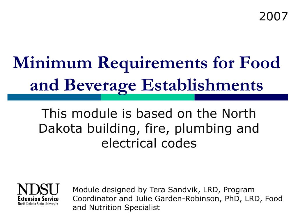 minimum requirements for food and beverage establishments l.