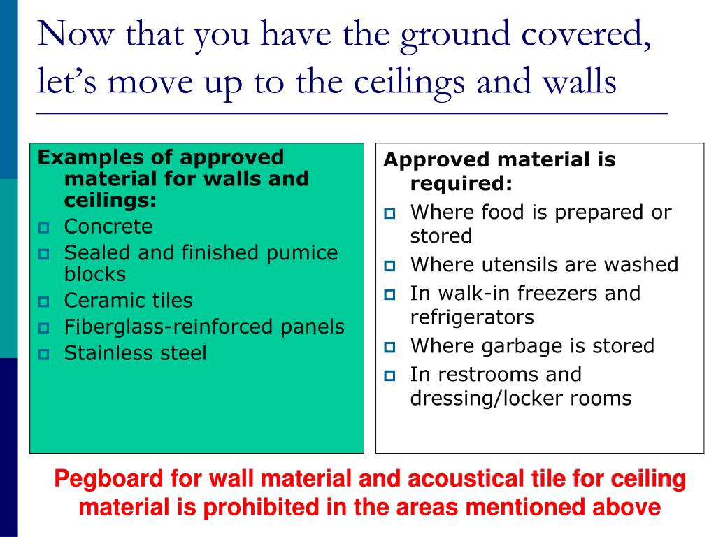 Examples of approved material for walls and ceilings: