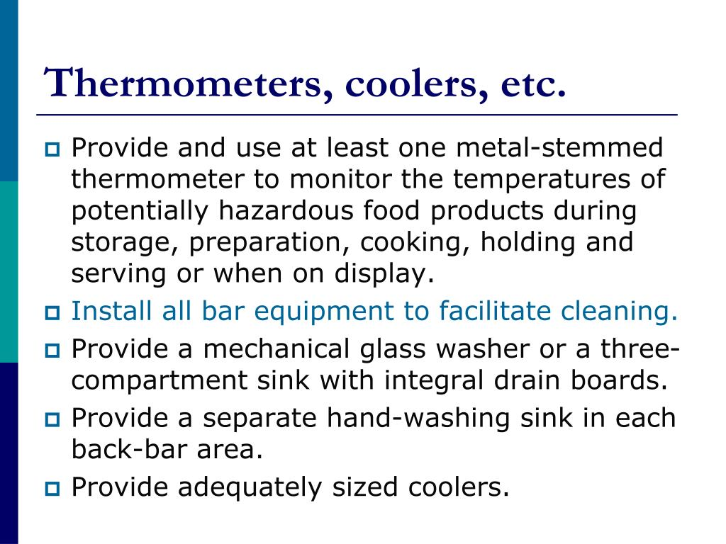 Thermometers, coolers, etc.