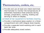 thermometers coolers etc