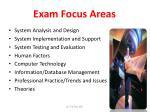 exam focus areas