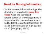 need for nursing informatics