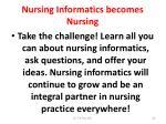 nursing informatics becomes nursing