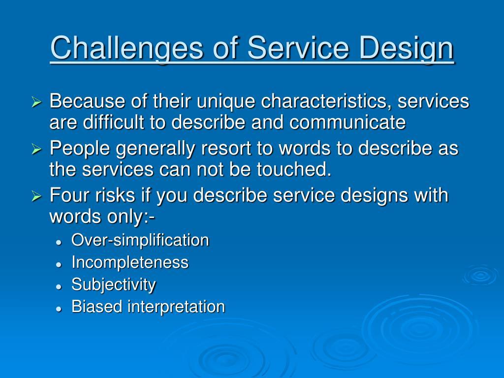 challenges of service design l.