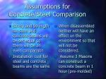 assumptions for concrete steel comparison