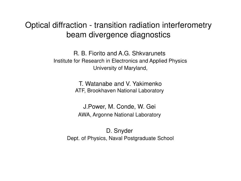 optical diffraction transition radiation interferometry beam divergence diagnostics l.