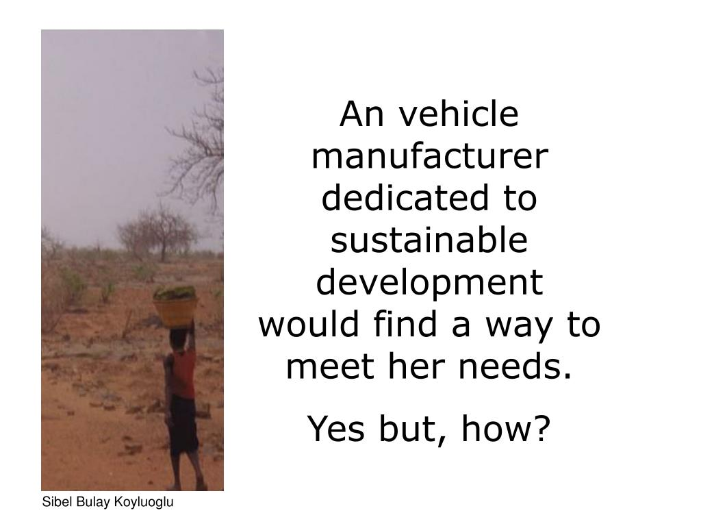 An vehicle manufacturer dedicated to sustainable development  would find a way to meet her needs.