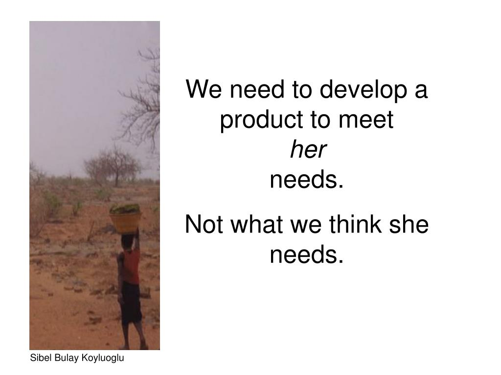 We need to develop a product to meet