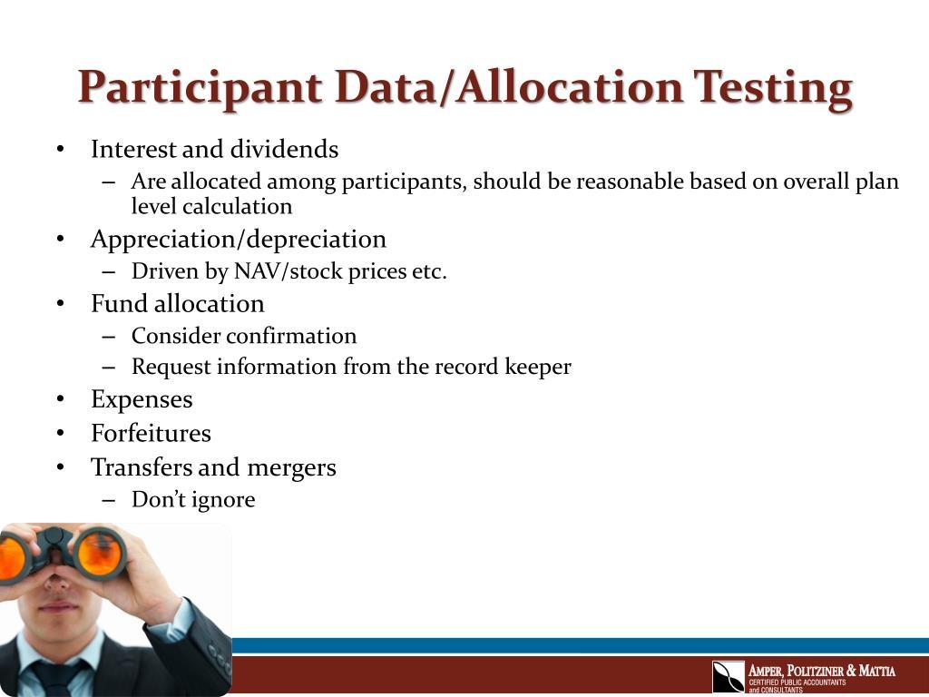 Participant Data/Allocation Testing