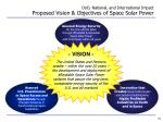 dod national and international impact proposed vision objectives of space solar power