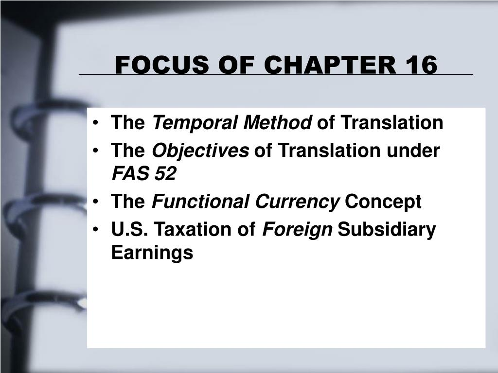 FOCUS OF CHAPTER 16