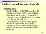audited annual accounts cont d