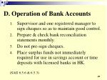 d operation of bank accounts