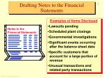 drafting notes to the financial statements