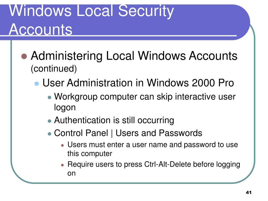 Windows Local Security Accounts