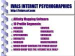 ivals internet psychographics http future sri com
