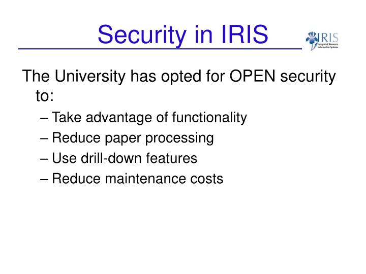 Security in iris