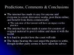 predictions comments conclusions