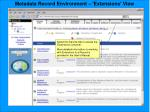 metadata record environment extensions view