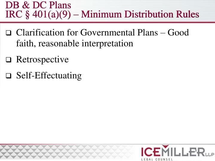 Db dc plans irc 401 a 9 minimum distribution rules