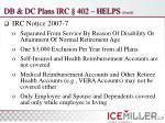 db dc plans irc 402 helps cont d8