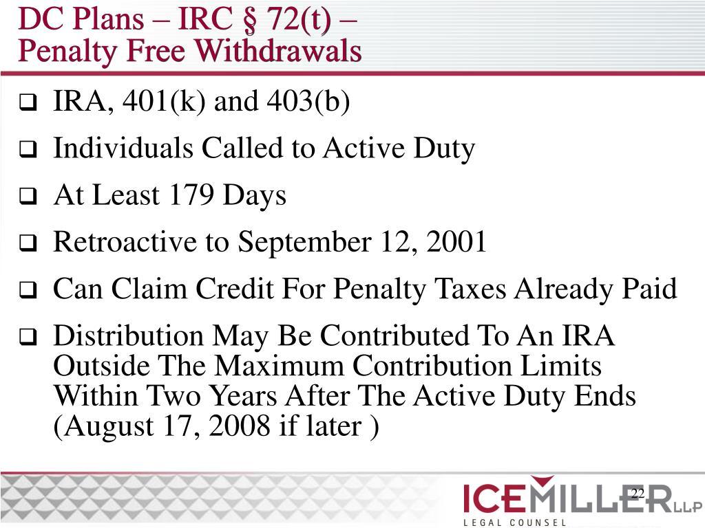 DC Plans – IRC § 72(t) –