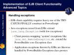 implementation of ejb client functionality advanced topics