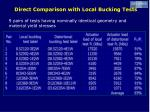 direct comparison with local bucking tests