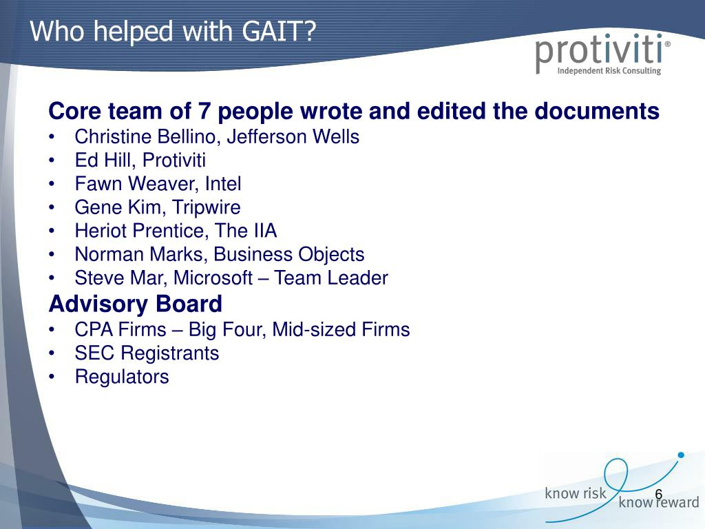 Who helped with GAIT?