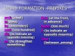 word formation prefixes