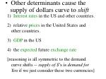 other determinants cause the supply of dollars curve to shift