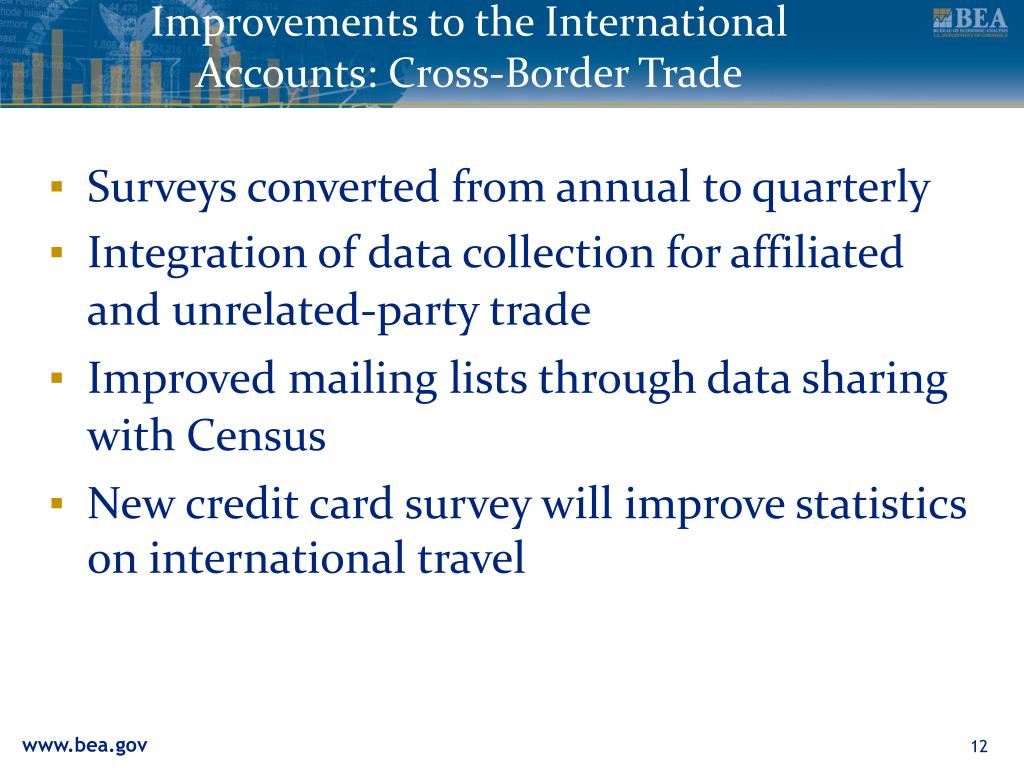 Improvements to the International Accounts: Cross-Border Trade