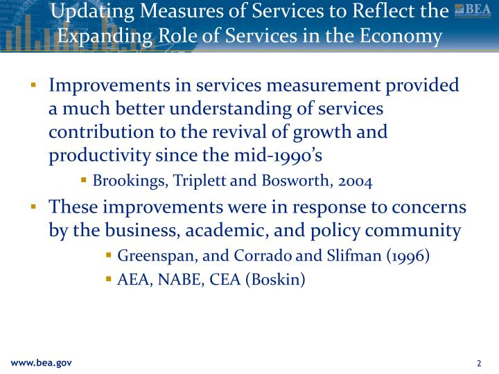 Updating measures of services to reflect the expanding role of services in the economy3
