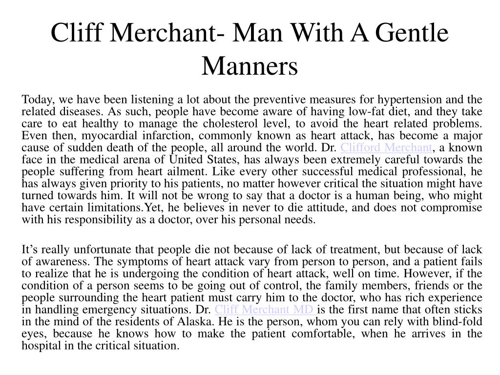 cliff merchant man with a gentle manners l.