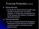 financial protection cont d