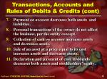 transactions accounts and rules of debits credits cont