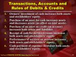 transactions accounts and rules of debits credits