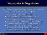 warranties in negotiation