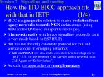 how the itu bicc approach fits with that in ietf 1 4