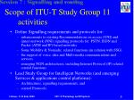 scope of itu t study group 11 activities