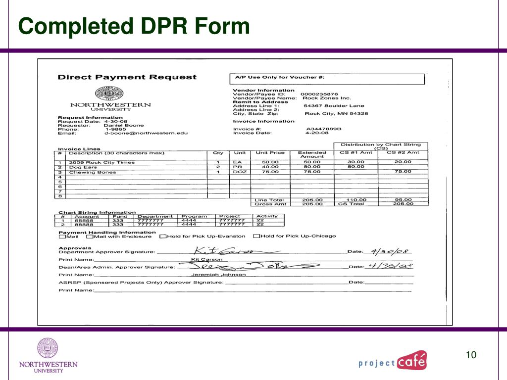 Completed DPR Form